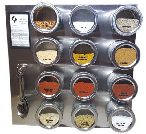 Spice Rack Labels magnetic spice rack 12 or 24 jars labels spoons steel plate chart ebay