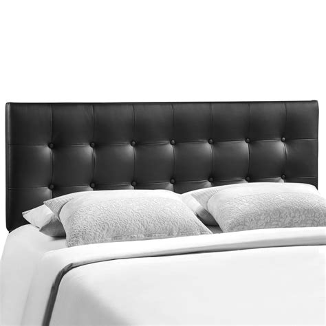 emily modern button tufted king faux leather headboard black