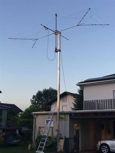 antenna tower with 10elle wirebeam from optibeam ham radio ham radio antenna ham radio