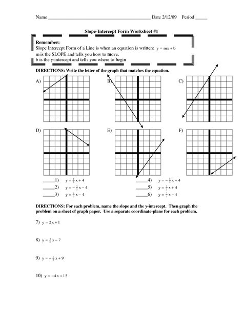 slope y intercept form worksheet 17 best images of graph using intercepts worksheets