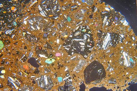 tuff thin section basalt breccia from stromboli thin section microscope