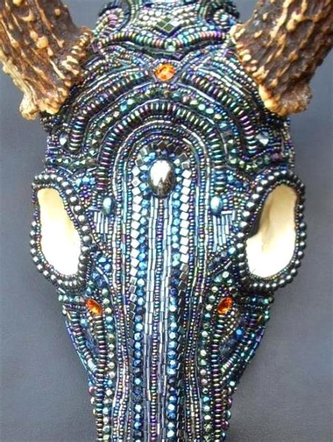 beaded deer skull front michael staley designs