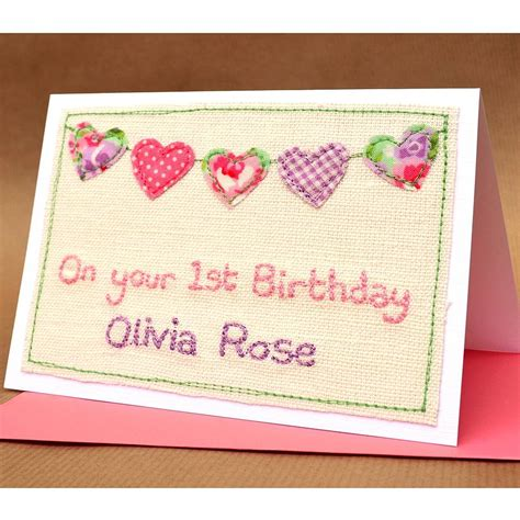 Personalised Birthday Cards Personalised Girls First Birthday Card By Jenny Arnott