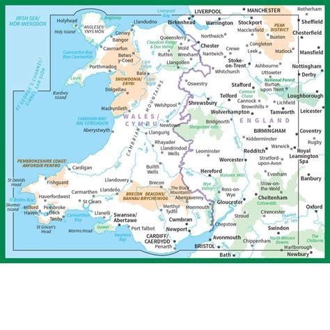 map of the west ordnance survey road map 6 wales cymru west midlands
