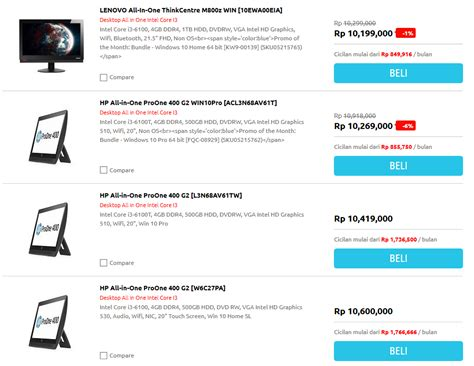 Harga Hp Vivo All Merk ini dia daftar harga komputer all in one i3 acer