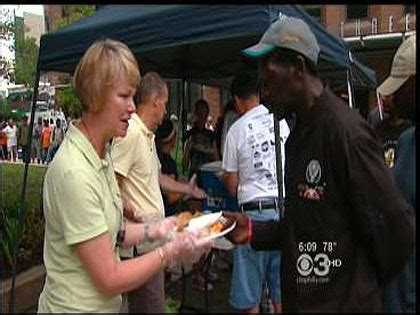 local religious group feeds the homeless on the ben