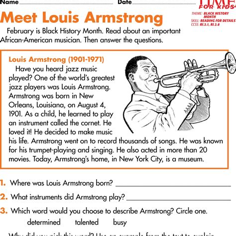 History Worksheets by Students Read About The Achievements Of Four Americans Description From