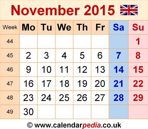 printable calendar november 2015 uk calendar november 2015 uk bank holidays excel pdf word