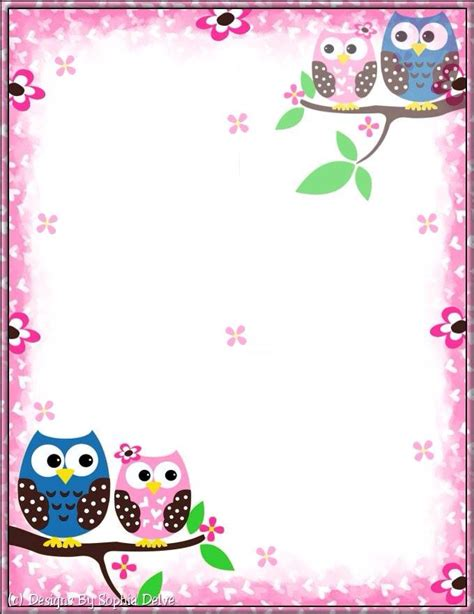 printable stationery owls little owls stationary pinteres