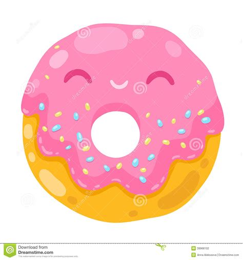 cute donut pictures cute smiling donut cartoon food illustration stock vector