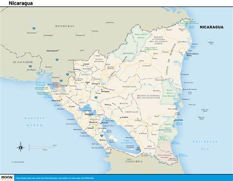 nicaragua on a map printable travel maps of nicaragua moon travel guides