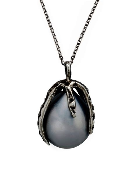 black pearl claw pendant necklace by wolf jewelry