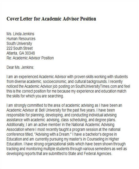 cover letter for academic position 6 sle academic advisor cover letter free sle