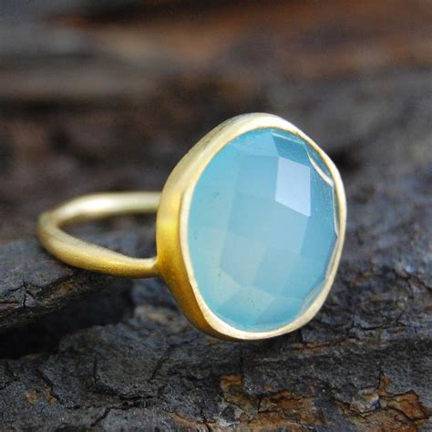 Chalcedony O Ring aqua chalcedony gold semi precious ring by embers gemstone