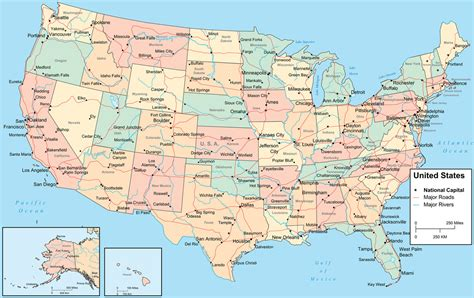 map usa showiwng states map of usa free large images