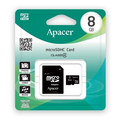 Memory Card Apacer 8gb apacer micro sdhc class 4 memory card 8gb it หม กพ มพ