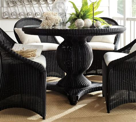 pottery barn black dining table palmetto all weather wicker pedestal dining table