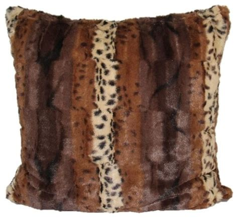 faux fur decorative pillows modhome leopard faux fur animal print accent pillow cover