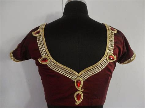 Blouse Ov Neck embroidery and maggam blouses jewellery neck with mango