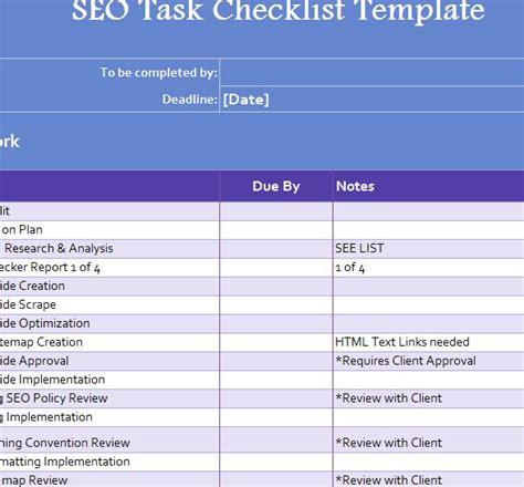 seo checklist template seo task checklist my excel templates