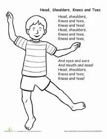 Shoulders Knees And Toes Coloring Page shoulders knees and toes worksheet education