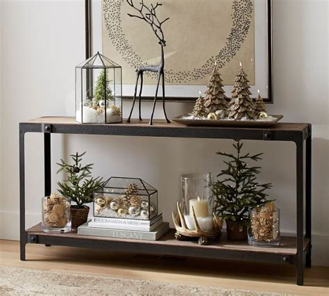 clint reclaimed wood console table christmas deco