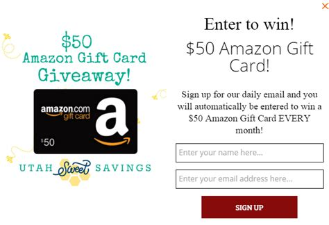 Not Receiving Amazon Gift Card - win a 50 amazon gift card every month easy to enter utah sweet savings