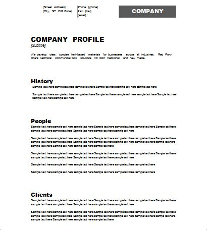 company templates company profile template document hub