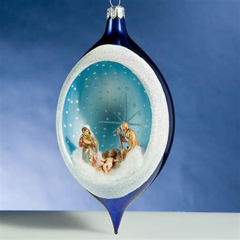 nativity ornament de carlini blue nativity drop italian ornament