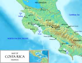 costa rica on map of south america map of costa rica relief map worldofmaps net