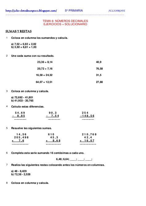 ejercicios con decimales solucionario