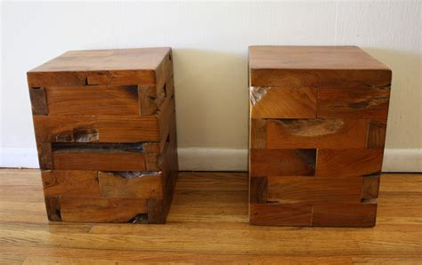 Narrow Nightstand Ideas Industrial Salvaged Wood Side End Tables Picked Vintage