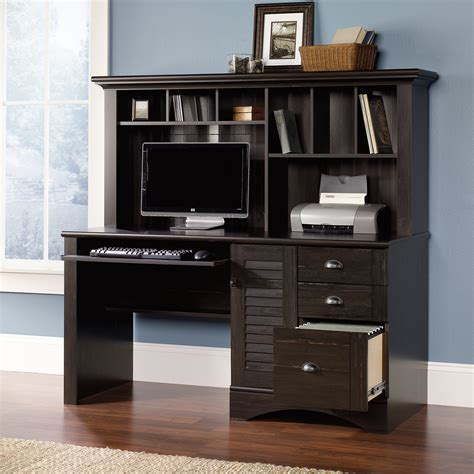 home computer desk with hutch harbor view computer desk with hutch 401634 sauder