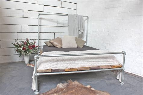 Scaffolding Bed Frame Galvanised Steel And Reclaimed Scaffolding Bed By Grain Notonthehighstreet
