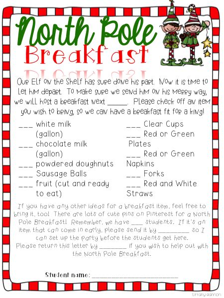 classroom north pole breakfast christmas party