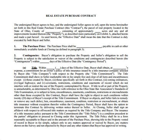 real estate purchase agreement 7 sle home purchase agreements sle templates