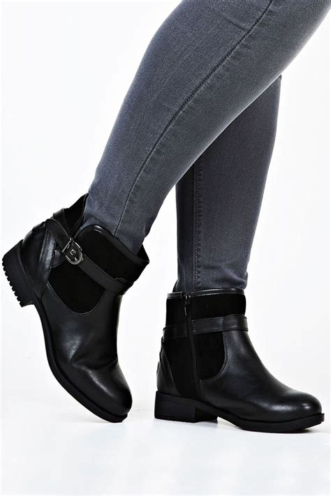 black leather look and suedette contrast ankle boots in