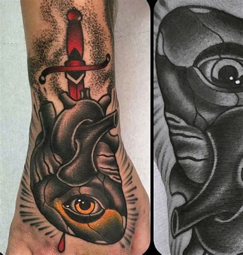 traditional tattoo hand eye 90 anatomical heart tattoo designs for men blood pumping ink