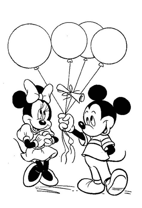 mickey mouse party coloring pages mickey give a ballon gift to minnie in mickey mouse