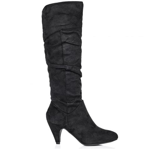 high heel boots knee high buy sundial stiletto heel knee high boots black suede