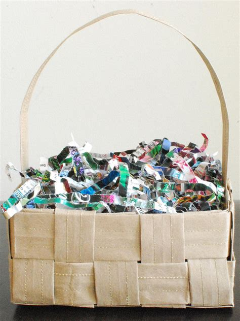 recycled brown paper bag basket and paper grass scissors