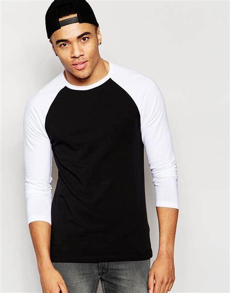 Tshirt Raglan Black asos sleeve t shirt with contrast raglan sleeves in black for lyst