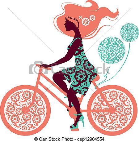 bicicletta clipart clipart vettoriali di bello silhouette ragazza