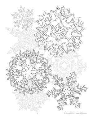 snowflakes adult coloring page delfyn studios