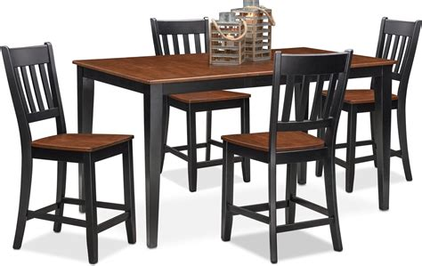 shadow counter height dining table shadow table and 4 chairs black value city furniture nantucket counter height table and 4 slat