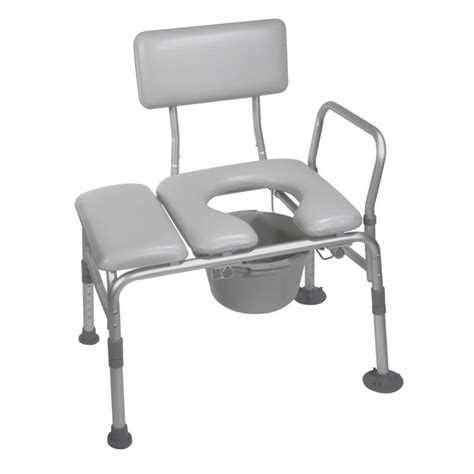 bench with padded seat padded seat transfer bench with commode opening drive