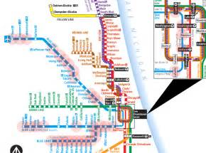 Chicago El Map Blue Line by Subway Map Chicago Blue Line World Map Weltkarte Peta