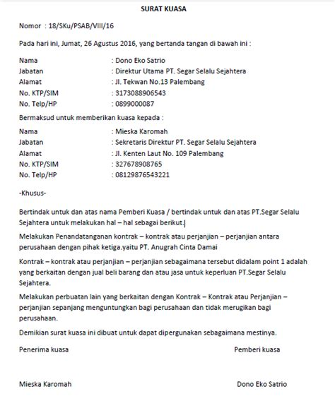 surat kuasa lengkap untuk berbagai keperluan seruni id