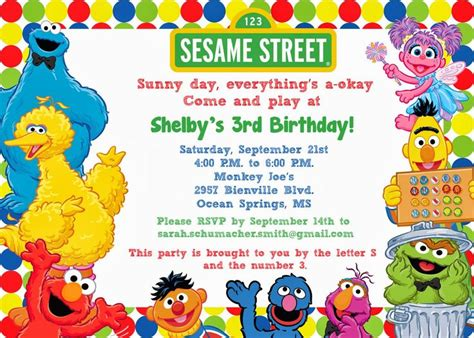 Sesame Templates Free 25 best ideas about sesame invitations on