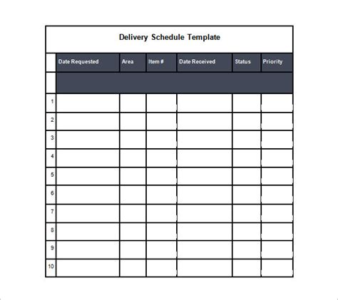 calendar template for drive delivery schedule templates 12 free word excel pdf